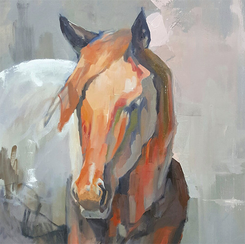 Uncertainty/Incertitude - horse painting by marie sand