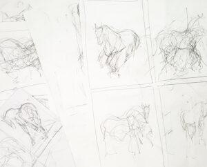 horse drawing studies