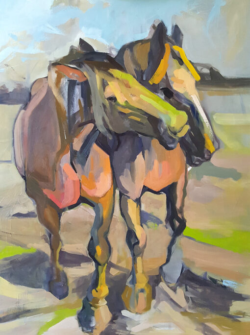 Two horse twin with colorful palette oil on canvas