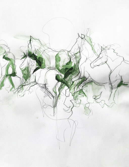 This s a equine drawing on paper with several horses galoping and ready to fly. green ink equine art
