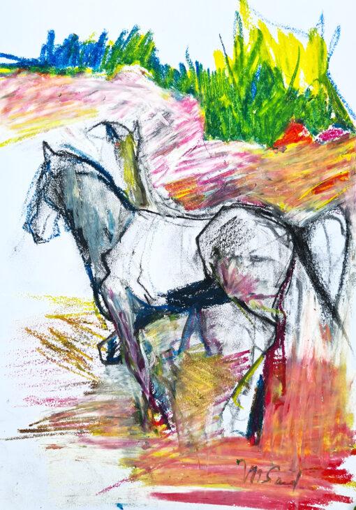 un cheval qde côté sur un fond de couleurs sur papier