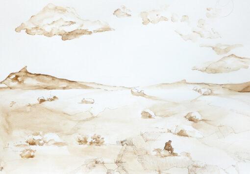 a landscape art piece showing a man sitting in a desertic nature landscape