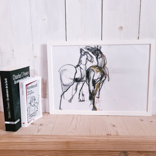 two horses side by side on a drawing next to books